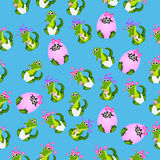 Baby crocodile or alligator. Very high quality original trendy seamless pattern with baby crocodile or alligator with nipple and diaper Stock Images