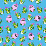 Baby crocodile or alligator. Very high quality original trendy seamless pattern with baby crocodile or alligator with nipple and diaper Stock Photos
