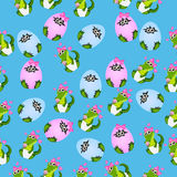 Baby crocodile or alligator. Very high quality original trendy seamless pattern with baby crocodile or alligator with nipple and diaper Royalty Free Stock Image