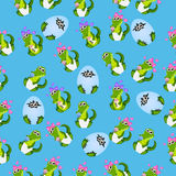 Baby crocodile or alligator. Very high quality original trendy seamless pattern with baby crocodile or alligator with nipple and diaper Stock Image
