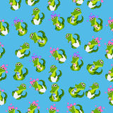 Baby crocodile or alligator. Very high quality original trendy seamless pattern with baby crocodile or alligator with nipple and diaper Royalty Free Stock Images