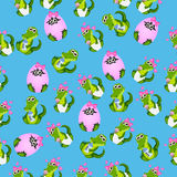 Baby crocodile or alligator. Very high quality original trendy seamless pattern with baby crocodile or alligator with nipple and diaper Royalty Free Stock Photography