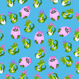 Baby crocodile or alligator. Very high quality original trendy seamless pattern with baby crocodile or alligator with nipple and diaper Stock Photography