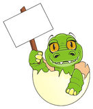 Baby crocodile with clean plate. Cute baby crocodile sit on egg and hold a clean poster on the stick Royalty Free Stock Photo
