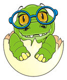 Baby crocodile in glasses. Cute baby crocodile in blue round glasses sit on egg Royalty Free Stock Images
