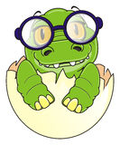 Baby crocodile in glasses. Happy baby crocodile in round glasses sit on egg Stock Photo