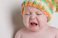 Baby cry. One year old baby cry Royalty Free Stock Photo