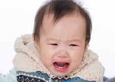 Baby cry. On white Royalty Free Stock Photos