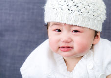 Baby cry. Asian baby girl crying close up Stock Images