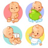 Baby sticker set. Healthy food, nutrition for baby. Baby cry, eat, drink.  Child hold apple. Baby boy with different emotions. Facial expression. Vector stock illustration