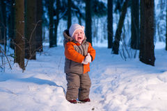 Baby Cry On Snow Road In Winter Forest Royalty Free Stock Photography