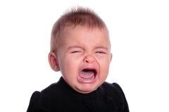 Baby crying. Beautiful baby crying isolated on white stock photos