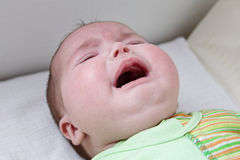 Baby crying. Close up of caucasian baby girl crying face Stock Photos