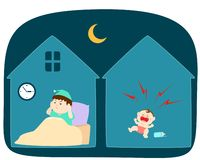 Baby crying loudly at night vector. stock illustration