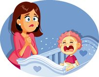 Baby Crying Next to Worried Mother Vector Illustration royalty free stock photos
