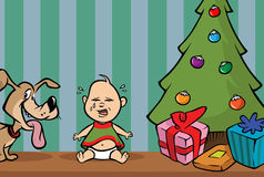 Baby crying xmas tree Stock Images