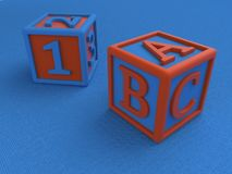 Baby cubes with figures and letters on a blue background, a toy for learning the numbers and letters. 3D render vector illustration