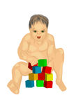 Baby with cubes Stock Photography