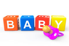 Baby Cubes with pacifier Royalty Free Stock Image