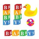 Baby cubes toys art illustration Royalty Free Stock Photos