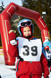 Baby cup champion skier Royalty Free Stock Images
