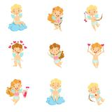 Baby Cupids With Bows, Arrows And Hearts Set Stock Photography