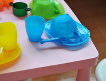 Baby cups and bowls Stock Photos