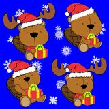 Baby cute beaver cartoon xmas set Stock Images