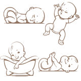 Baby. Cute baby boys and girls. Sleeping positions. Various poses.First year activities. Swimming in bath, lying on stomach, lying on back holding legs Stock Photos