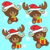 Baby cute bull cartoon xmas set Royalty Free Stock Photo