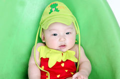 Baby with cute cloth. A baby with cute lovely carton cloth Royalty Free Stock Photo