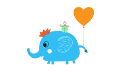 Baby cute elephant first birthday greeting card. Baby cute cartoon elephant with balloon , present first birthday greeting card Royalty Free Stock Photo
