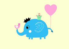 Baby cute elephant first birthday greeting card. Baby cute cartoon elephant with balloon , present first birthday greeting card Stock Images
