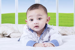 Baby with a cute face on the bed. Portrait of little baby boy with a cute face lying on the bed while looking on the camera Stock Photos