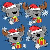 Baby cute mouse cartoon xmas set Royalty Free Stock Photography