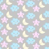 Baby cute pastel colors seamless pattern. Vector illustration with stars cloud and moons royalty free illustration
