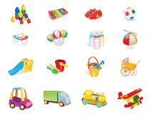 Baby cute playing icons Stock Images