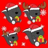 Baby cute skunk cartoon xmas set Royalty Free Stock Images