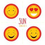 Baby cute vector sun icon set. Cute baby smile sun logos collect. Ion. Smiley icon art logo designs. Sun vector with arrows. Sun icons set  on white background Stock Images