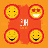 Baby cute vector sun icon set. Cute baby smile sun logos collect. Ion. Smiley icon art logo designs. Sun vector with arrows and paint splash on yellow background Royalty Free Stock Image