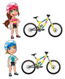 Baby Cyclists. Funny cartoon and vector character. Isolated objects Stock Photography