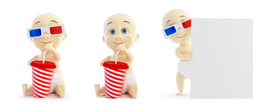 Baby 3d cinema glasses set Royalty Free Stock Images