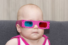 Baby in 3D glasses Royalty Free Stock Image
