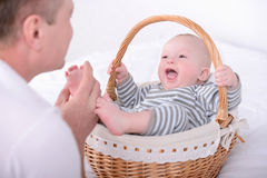 Baby and Dad royalty free stock photos