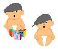 Baby with dads hat on his head Royalty Free Stock Image