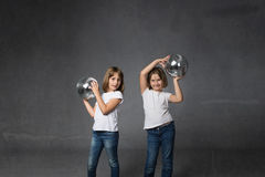 Baby dance for chidren with disco balls. Dark background Royalty Free Stock Photo