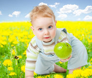 Baby among dandelion with healthy food Royalty Free Stock Photos