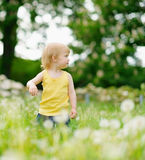 Baby on dandelions field looking back Royalty Free Stock Images