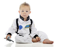 Baby, das Astronauten spielt Lizenzfreies Stockbild