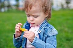 Baby, das auf das Gras u. das x28 geht; Einjährig u. x29; Stockbild